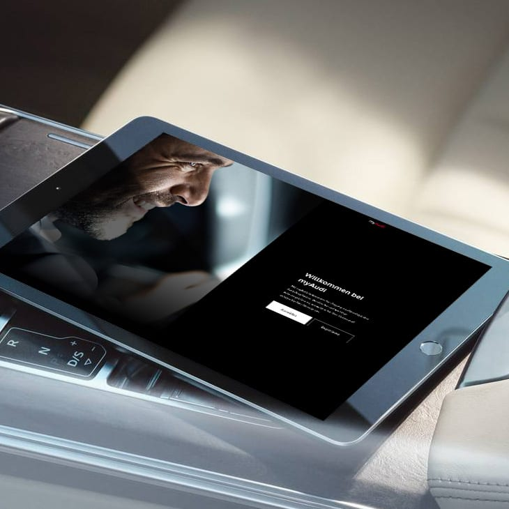 Step 1: You can register with myAudi using your tablet, among other things